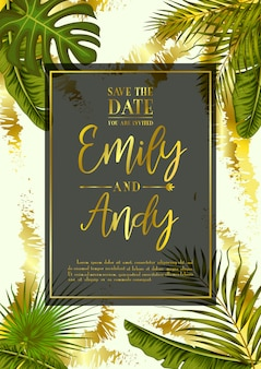 Wedding invitation with exotic tropical leaves background