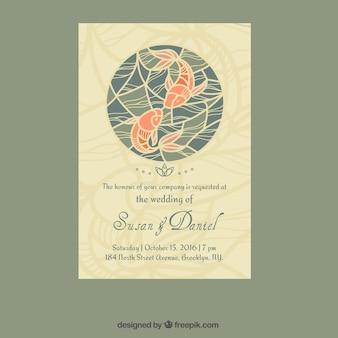 和風で魚デザインの結婚式の招待状