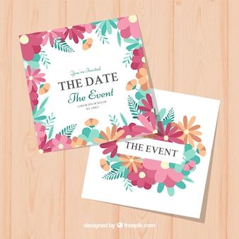 Wedding invitation with flat flowers