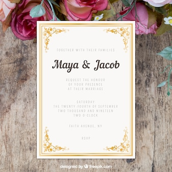 Wedding invitation with flat ornaments