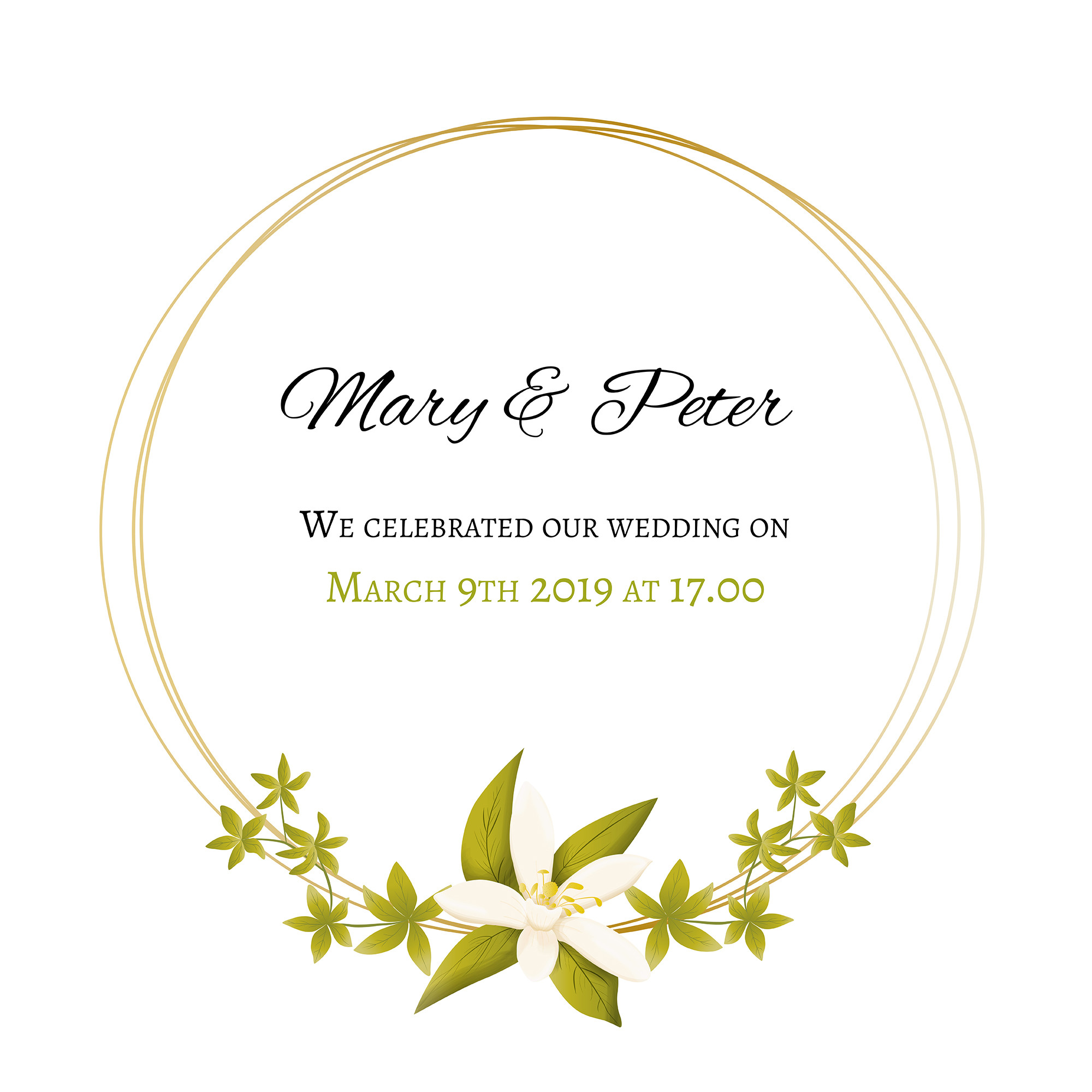 Wedding invitation with floral and golden frame