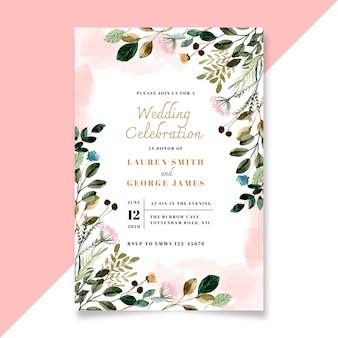 Свадебное приглашение с цветочными и зелеными листьями акварель