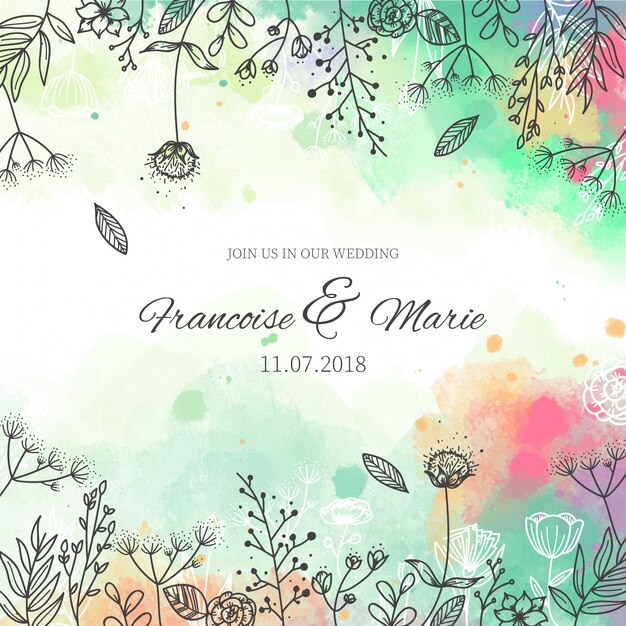 Marvelous Wedding Invitation With Floral Background In Watercolor Style