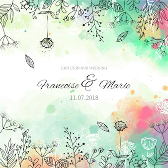 Wedding invitation with floral background in watercolor style