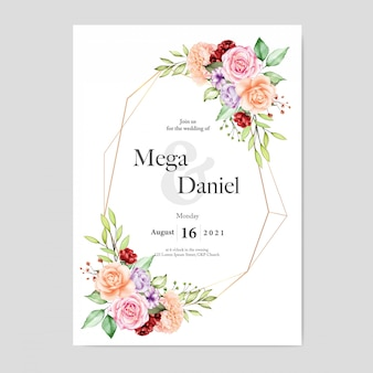 Wedding invitation with floral background watercolor style