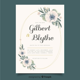Wedding invitation with floral frame template