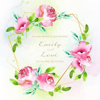 Invito a nozze con cornice floreale