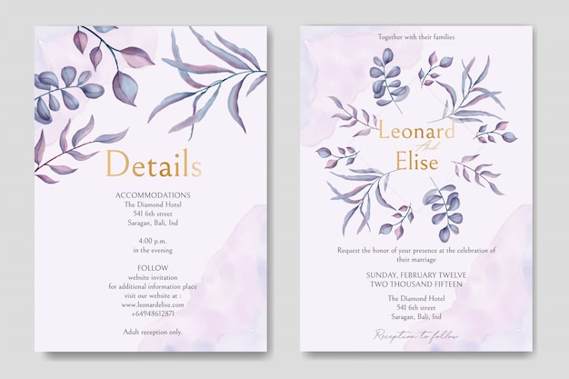 Wedding invitation with floral ornament and gold font
