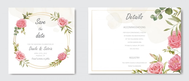 Wedding invitation with floral ornament and gold frame