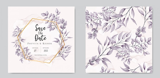 Wedding invitation with floral ornament and seamless pattern set bundle collection