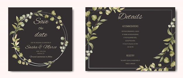 Wedding invitation with floral ornament and silver frame