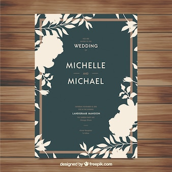 Wedding invitation with floral ornaments in flat style
