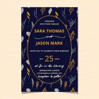 Wedding invitation with floral pattern