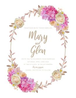 花のピンクのアジサイとバラの花の結婚式の招待状