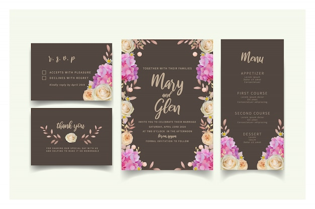 Wedding invitation with floral pink hydrangea and rose flowers