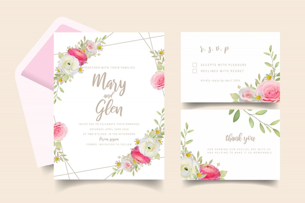 Wedding invitation with floral pink ranunculus and rose flowers