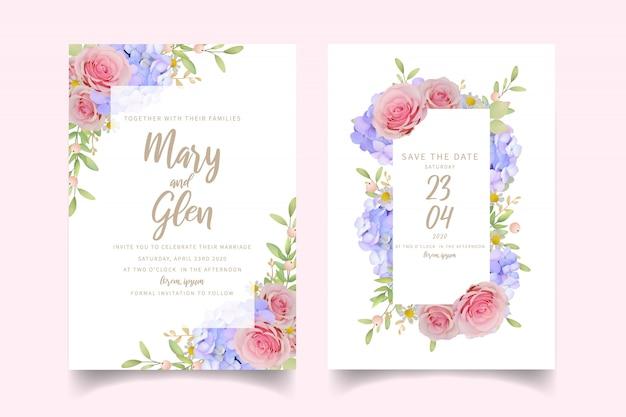 Свадебное приглашение с цветочными розовыми розами и гортензией