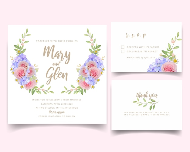 Wedding invitation with floral pink roses and hydrangea