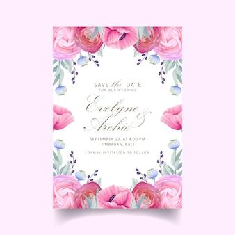 Свадебное приглашение с цветочными лютиками и цветами мака