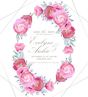Wedding invitation with floral ranunculus and poppy flowers