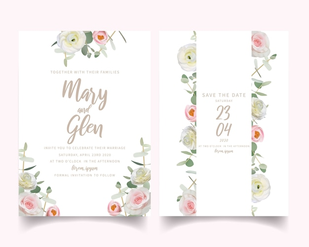Wedding invitation with floral ranunculus and rose flowers