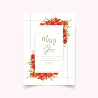 Wedding invitation with floral red poppy flowers