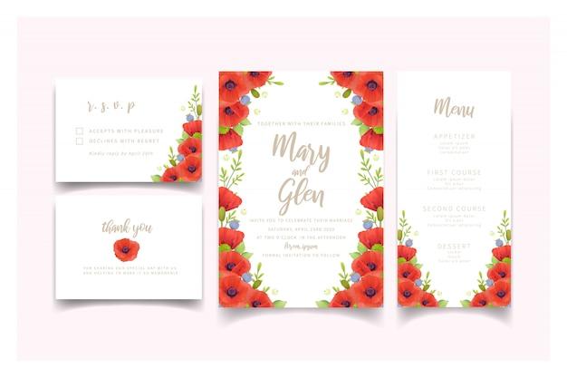Свадебные приглашения с красными цветами мака