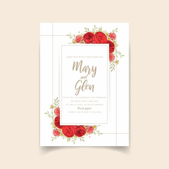 Wedding invitation with floral red roses