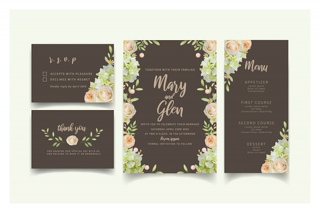 Wedding invitation with floral roses and hydrangea