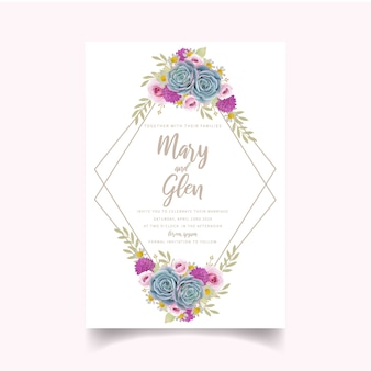 Wedding invitation with floral roses and succulent
