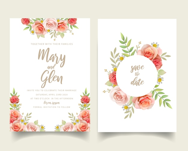 Wedding invitation with floral roses