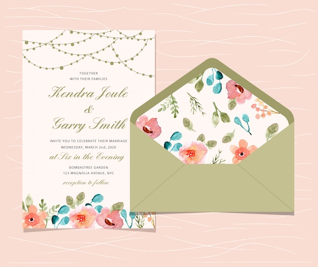 Wedding invitation with floral and string light background