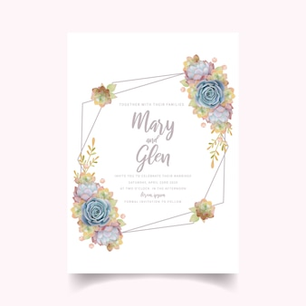 Wedding invitation with floral succulent