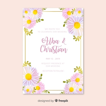Wedding invitation with floral theme
