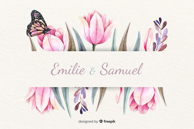 Wedding invitation with floral watercolor background