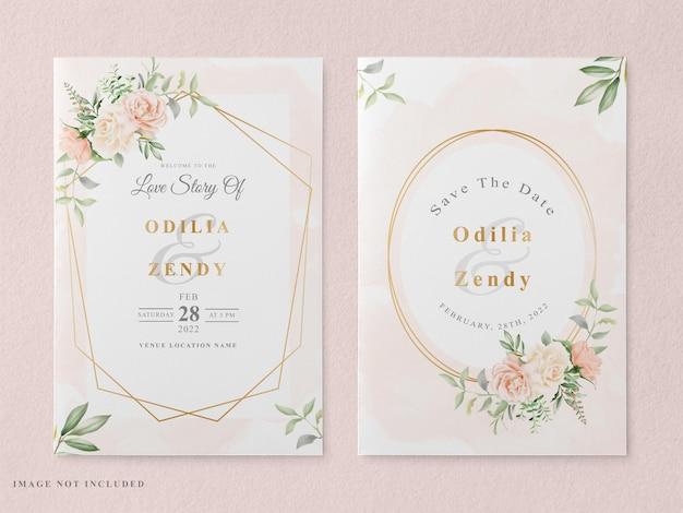 Wedding invitation with floral watercolor design