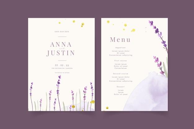 花の水彩ラベンダーと結婚式の招待状