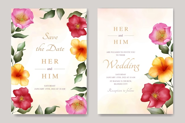 Wedding invitation with floral watercolor template