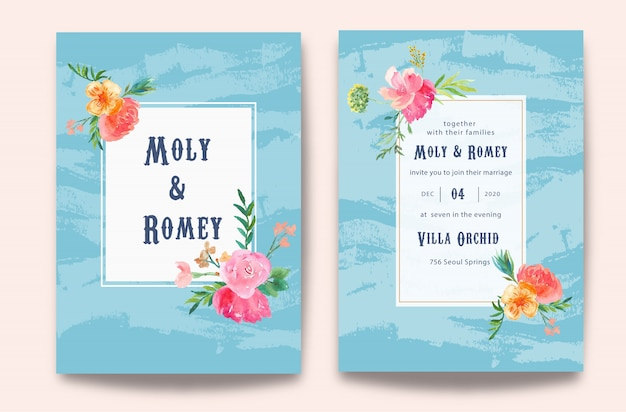 Wedding invitation with floral watercolor