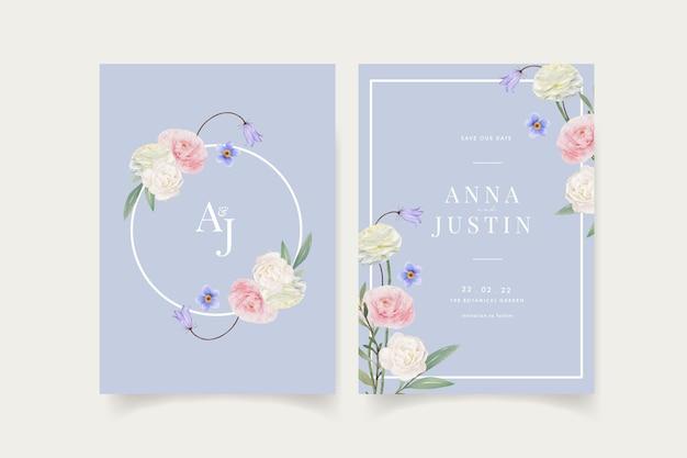 花の水彩画と結婚式の招待状