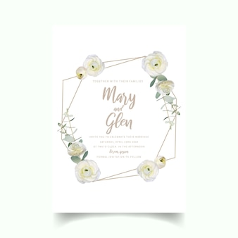 Wedding invitation with floral white ranunculus flowers