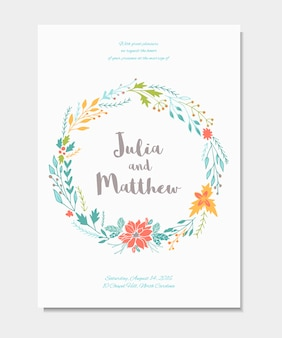 Wedding invitation with floral wreath, flowers.  template for birthday, baby shower, menu, flyer, banner with calligraphy,  thank you and save the date card. elegant hipster rustic background.