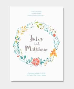 花の花輪、花と結婚式の招待状。誕生日、ベビーシャワー、メニュー、チラシ、書道のバナーのテンプレート、ありがとう、日付カードを保存します。エレガントなヒップスターの素朴な背景。