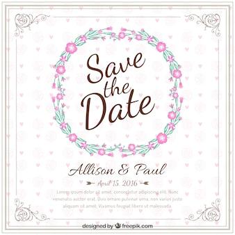 花の花輪との結婚式の招待状