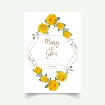 Wedding invitation with floral yellow roses