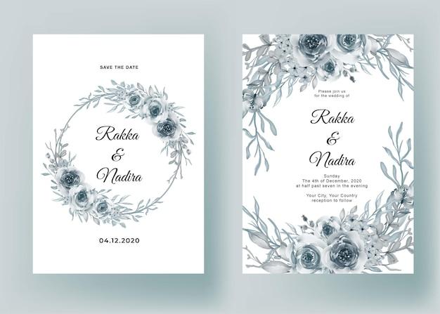 花ブルーパステルロマンチックな結婚式の招待状