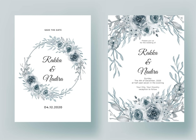 Wedding invitation with flower blue pastel romantic