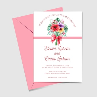 Свадебное приглашение с букетом цветов акварель