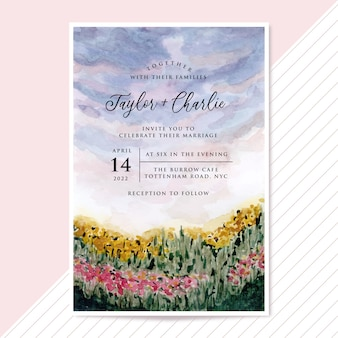 Wedding invitation with flower meadow landscape watercolor