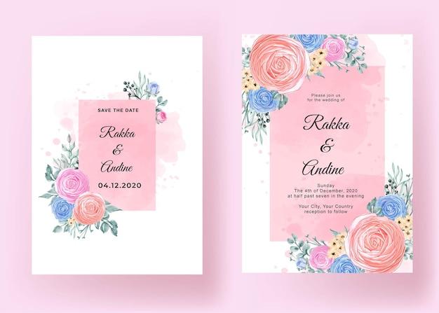 花ラナンキュラスロマンチックな結婚式の招待状